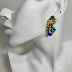 3/$15 Gold tone blue green bead dangle earrings